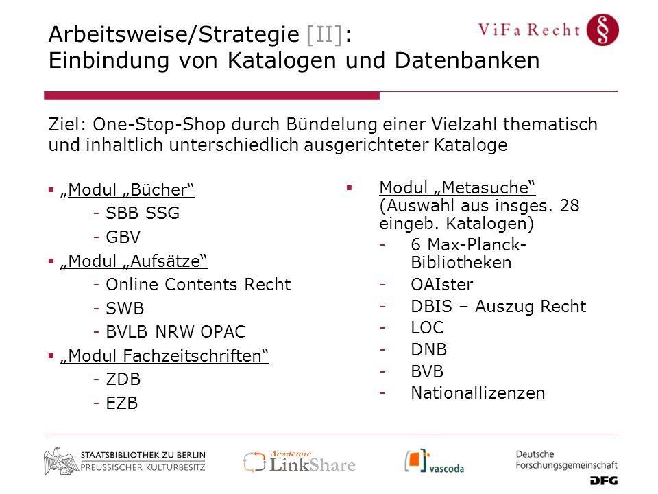 Arbeitsweise/Strategie [II]: Einbindung von Katalogen und Datenbanken